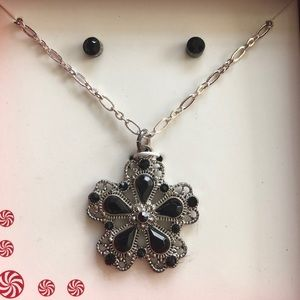 Black Crystal Flower Necklace & Stud Earring Set
